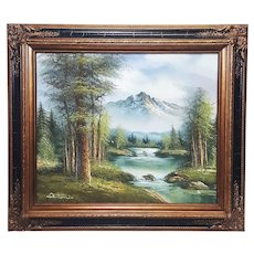 An original oil painting on canvas of landscape signed Antonio in frame. FREE US SHIPPING