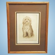 A vintage pencil signed limited edition lithograph by Keith Lee Seated Terrier. FREE US SHIPPING