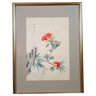 An original Chinese watercolor painting on silk signed and stamped by the artist