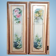 A pair of 19th century French verre églomisé  reverse painting on glass and mirror. FREE US SHIPPING