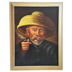 An original vintage oil painting on canvas of an Asian man with straw hat and pipe. FREE U.S. SHIPPING