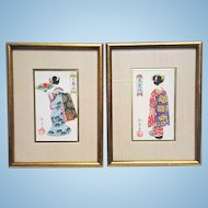 A Pair of original Japanese vintage paintings geisha artworks. FREE US SHIPPING