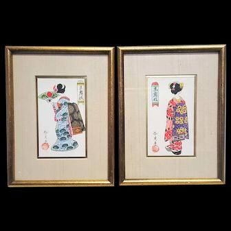 A Pair of original Japanese vintage paintings geisha artworks