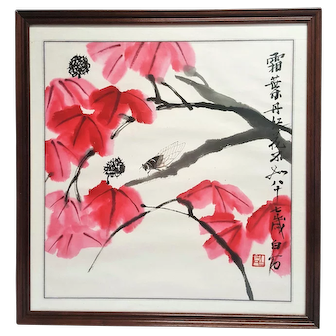 An ink-wash freehand painting of the flaming red leaves cicada on Rice Paper.