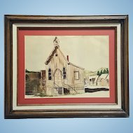An antique original watercolor of American Southwest village late 19th century. FREE US SHIPPING
