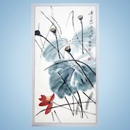 An original watercolor painting of lotus flower, leaves and pods attributed to Master Qi Baishi on Rice Paper. FREE US SHIPPING