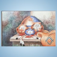 An original oil painting on canvas Southwestern motif signed by artist,  Ki-Nuka-A.