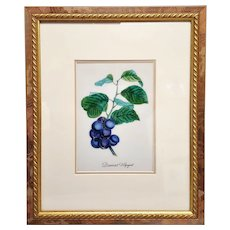 An original painting on porcelain plaque of blueberries fruit on a branch. FREE US SHIPPING