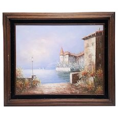 A vintage original oil painting of an old European castle at a the lake signed Amy Wu. FREE US SHIPPING