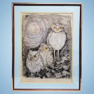 An artist proof, pencil signed date and numbered Serigraph of owl family The Wings of Night by Rowan. FREE US SHIPPING