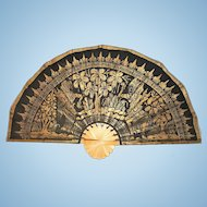 "An extra large vintage handmade black and gold fan display Asian Art 47.5"" wide. FREE US SHIPPING"