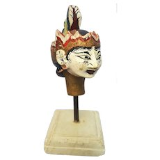A vintage early century Balinese art bust of Wayang Golek Dewi Sinta on a stand. FREE US SHIPPING