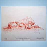 An artist's proof lithograph pencil signed and numbered Sleeping Beauty by Connie King w. Certificate of Authenticity. FREE US SHIPPING