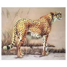 An original painting on silk fabric of a Cheetah signed Maxa... The signature is illegible except the first 4 letters. FREE US SHIPPING
