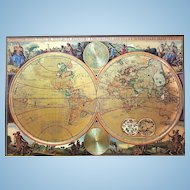 A huge double hemisphere vintage old world nautical map on silk. FREE US SHIPPING