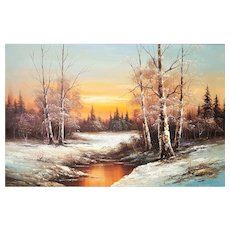 Large oil Painting with winter landscape framed.