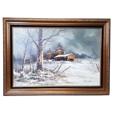 A large original oil Painting with winter frozen landscape with a barn framed.