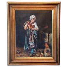 "French oil painting on canvas ""Farm girl with chickens"" - Red Tag Sale Item"
