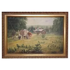 "French oil painting on canvas ""Pastoral Landscape"""