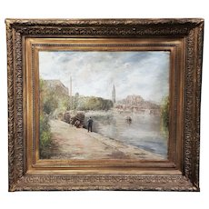 "An original late 18th-century French oil painting on canvas "" Fisherman by the River"" signed Gabriel F"