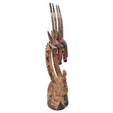 African tribal art, Mali Bambara people, Chiwara helmet with antelope headdress