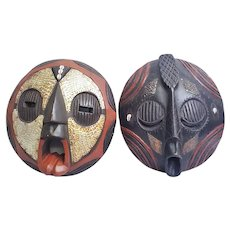 Pair of authentic hand carved African masks Baluba and Bakota