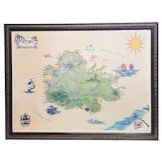 A vintage print of illustrated pictorial Caribbean Basin map of Antigua.