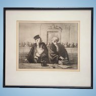 """Antique Honore' Daumier """"The End Of The Audience"""" etching signed (La Fin De L'Audience)1862-5 FREE US SHIPPING"""