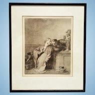 "Antique Honore' Daumier lawyers at court etching signed ""A Criminal Case"" (ca. 1860) FREE US SHIPPING"