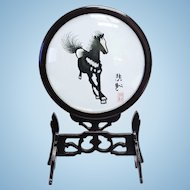 Vintage Chinese double sided silk embroidery art horse in swivel frame from 1945. FREE DOMESTIC SHIPPING