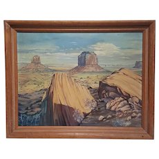 Antique and original Signed Monument Valley The Mittens landscape plateau impressionism oil painting on canvas BY Vincent C. Plunkett. FREE US SHIPPING