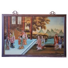 A vintage Chinese reverse painting on glass