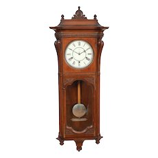 "Seth Thomas ""Marcy"" Walnut Quarter Striking 8 day Wall Clock November 1886 Original !"