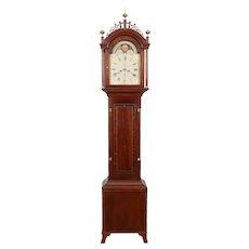 Southeastern MA C. 1820 Inlaid Mahogany Tall Case Clock by Wm A. Wall