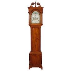 Burlington Co. New Jersey Cherry Chippendale Tall Case Clock C. 1800