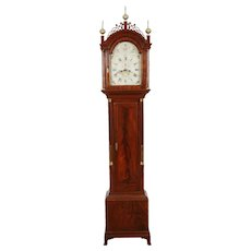 William Cummens Roxbury MA C. 1800 High Style Mahogany Tall Case Antique Grandfather Clock