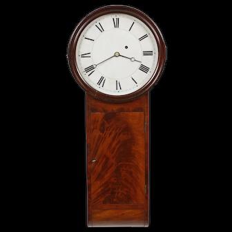 1830 Boston Willard School Dish Dial Weight Driven Tavern Clock Flame Mahogany Case