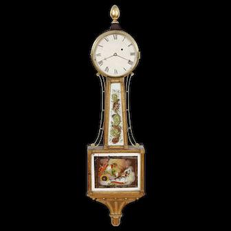 Willard School Gold Front Presentation Banjo Clock C. 1820 Outstanding Original Glasses & Gilding!