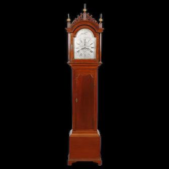 Benjamin Willard Roxbury MA Cherry Chippendale Tall Case Clock w/ Simon Willard & John Morris embossed pendulum bob