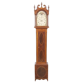 Samuel Davis Pittsburgh PA Eagle Inlaid Cherry & Mahogany Tall Case Clock C. 1810