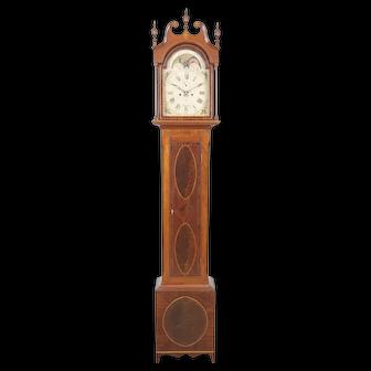 Samuel Davis Pittsburgh PA Eagle Inlaid Cherry & Mahogany Tall Case Clock C. 1810