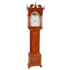 John Samuel Krause Bethlehem PA Three Train Quarter Striking Cherry Tall Case Clock 8- day Sweep Seconds