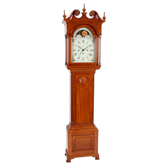 John Samuel Krause Bethlehem PA Three Train Quarter Striking Cherry Tall Case Clock 8- day Sweep Seconds