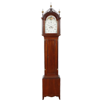 David Wood Mahogany Tall Case Clock Newburyport MA C. 1800