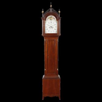 David Wood Mahogany Tall Case Clock Newburyport MA C. 1800