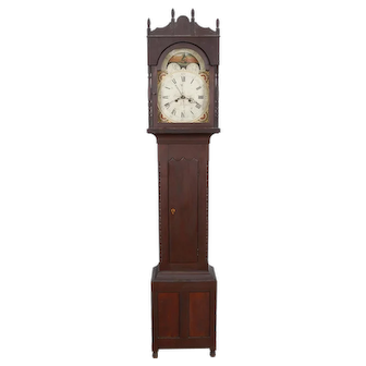 Cherry Sheraton Lebanon PA Tall Case Clock by Emanuel Meily C. 1830