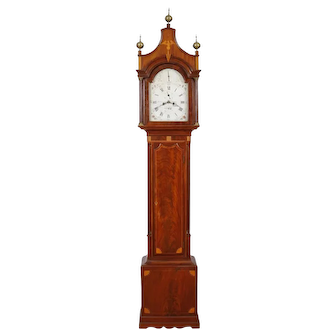 C. 1800 High Style New York Eagle Inlaid Mahogany Tall Case Clock made by Effingham Embree