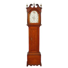 SIGNED Timothy Chandler Concord NH Maple Tall Case Grandfather Clock C. 1800