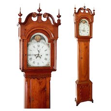 Cherry Chippendale Tall Case Grandfather Clock John Fessler FrederickTown C. 1785, 8 Day Striking Movement Lantern Pinions