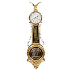 Lemeul Curtis Girandole Gilded Weight Driven Banjo Clock made by Elmer Stennes, Weymouth MA 1961